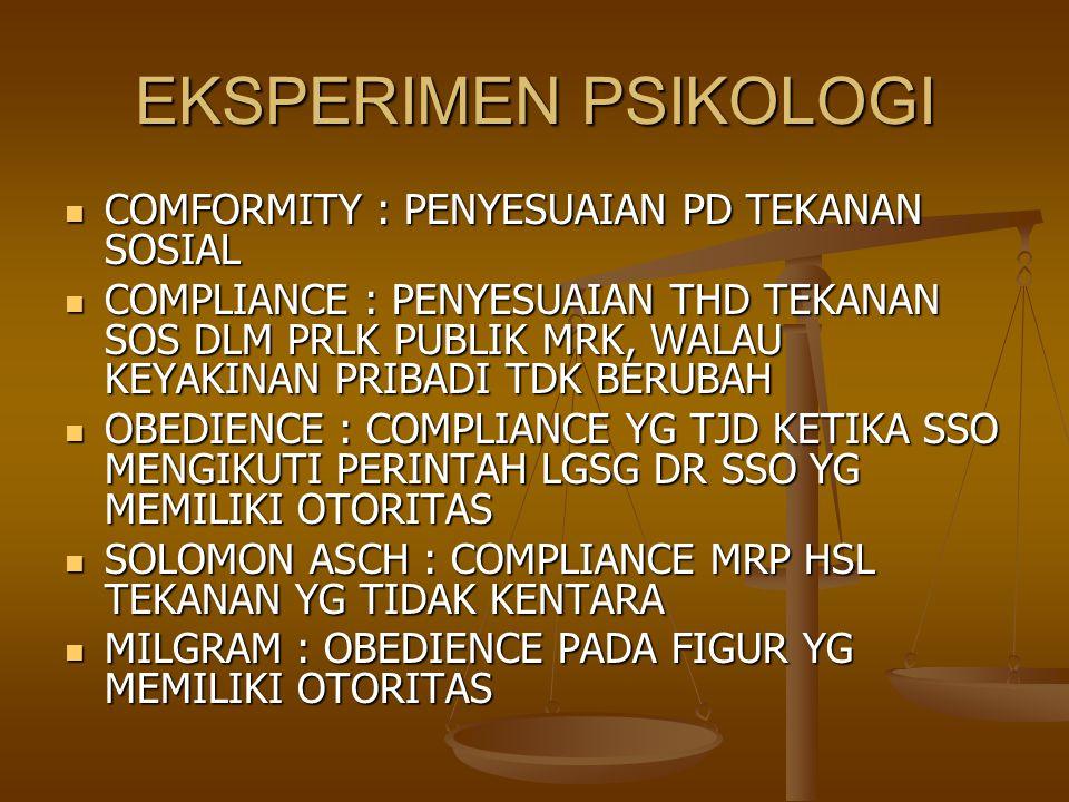 RISET BUDAYA HADIYONO & HAHN : ORG INDONESIA MEMILIKI KONFORMITAS YG TINGGI DRPD USA HADIYONO & HAHN : ORG INDONESIA MEMILIKI KONFORMITAS YG TINGGI DRPD USA ARGYLE DKK : ORG JEPANG & CINA HONGKONG LBH MENDUKUNG OBEDIENCE DRPD ITALI, INGGRIS, ARGYLE DKK : ORG JEPANG & CINA HONGKONG LBH MENDUKUNG OBEDIENCE DRPD ITALI, INGGRIS, BUCK DKK : ORG JEPANG LBH KONFORM DRPD USA BUCK DKK : ORG JEPANG LBH KONFORM DRPD USA GOODNOW : ORG ITALI LBH KONFORM DRPD INGGRIS & AUSIE GOODNOW : ORG ITALI LBH KONFORM DRPD INGGRIS & AUSIE BURGOZ DKK : TDK HANYA ASIA TP PUERTO RICO MENILAI KONFORMITAS DAN KEPATUHAN SBG NILAI PENGASUHAN ANAK BURGOZ DKK : TDK HANYA ASIA TP PUERTO RICO MENILAI KONFORMITAS DAN KEPATUHAN SBG NILAI PENGASUHAN ANAK JD DLM BUDAYA KOLEKTIF, KONFORMITAS DAN KEPATUHAN TDK HANYA DIPANDANG BAIK, TP SANGAT DIPERLUKAN, DGN TUJUAN AGAR BS BERFUNGSI BAIK DI LINGKUNGAN, DPT MENJALIN HUB INTERPERSONAL, MENIKMATI STATUS YG LBH TINGGI DAN MENDPT PENILAIAN POSITIF JD DLM BUDAYA KOLEKTIF, KONFORMITAS DAN KEPATUHAN TDK HANYA DIPANDANG BAIK, TP SANGAT DIPERLUKAN, DGN TUJUAN AGAR BS BERFUNGSI BAIK DI LINGKUNGAN, DPT MENJALIN HUB INTERPERSONAL, MENIKMATI STATUS YG LBH TINGGI DAN MENDPT PENILAIAN POSITIF