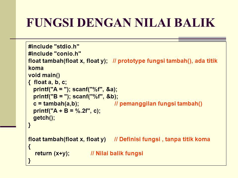 LATIHAN switch(kondisi) { case 1 : pernyataan-1; break; case 2 : pernyataan-2; break;.....