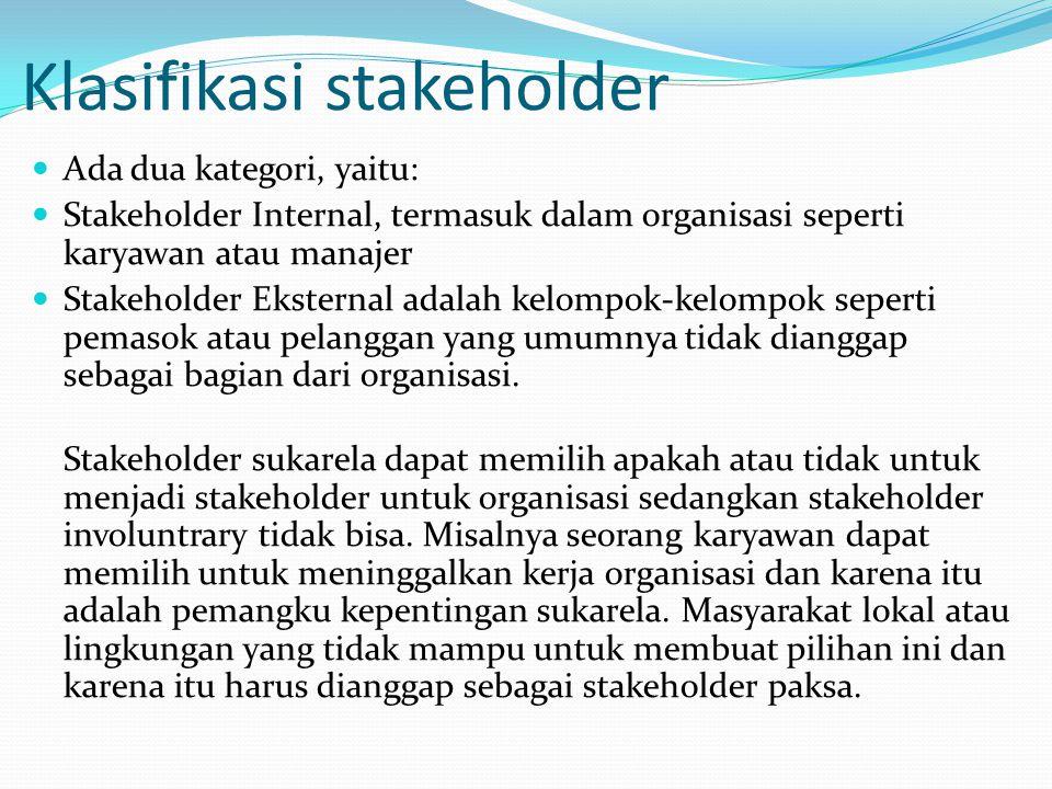 Klasifikasi stakeholder Ada dua kategori, yaitu: Stakeholder Internal, termasuk dalam organisasi seperti karyawan atau manajer Stakeholder Eksternal adalah kelompok-kelompok seperti pemasok atau pelanggan yang umumnya tidak dianggap sebagai bagian dari organisasi.