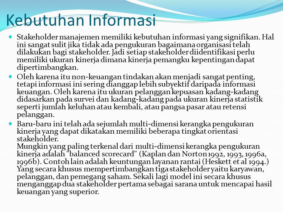 Kebutuhan Informasi Stakeholder manajemen memiliki kebutuhan informasi yang signifikan.