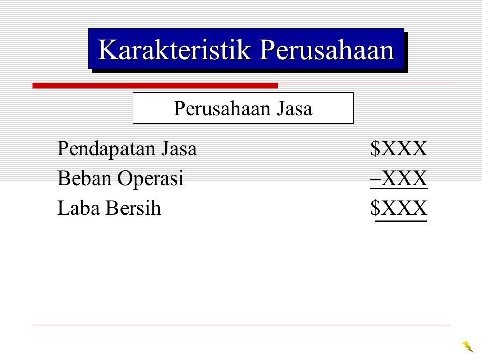 Perusahaan Dagang Penjualan$XXX Harga Pokok Penjualan–XXX Laba Kotor$XXX Beban Usaha–XXX Laba Bersih$XXX Karakteristik Perusahaan