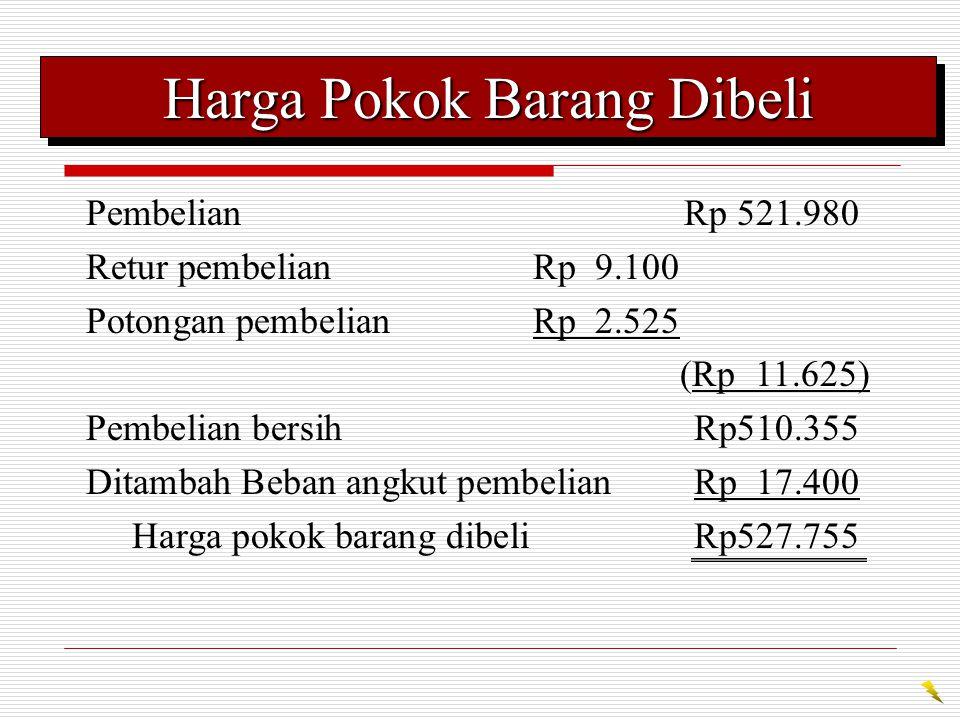 Harga Pokok Penjualan Persediaan barang dagangan, 1/1/07Rp 59.700 PembelianRp 521.980 Retur pembelianRp 9.100 Potongan pembelianRp 2.525 (Rp 11.625) Pembelian bersih Rp510.355 Beban angkut pembelian Rp 17.400 Harga pokok barang dibeliRp 527.755 Barang dagangan tersedia untuk dijual Rp 587.455 Persediaan barang dagangan, 31/12/07(Rp 62.150) Harga pokok penjualan Rp 525.305