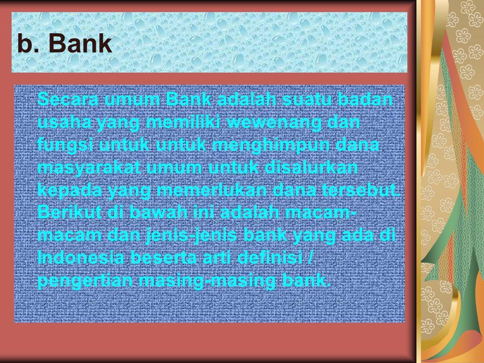 b.Bank Jenis-Jenis Bank : 1.