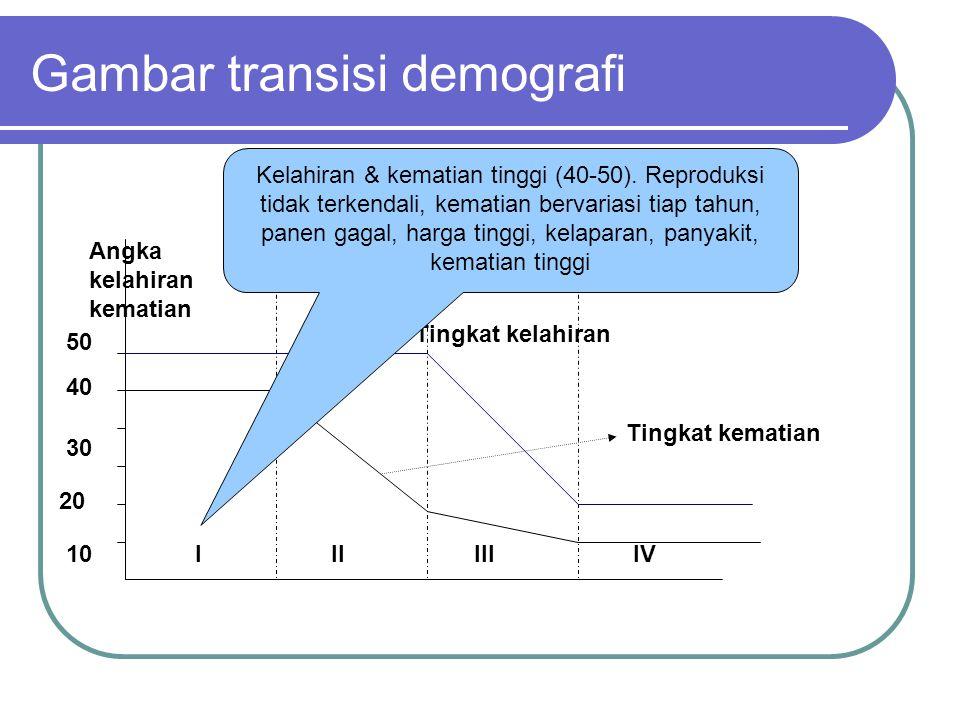 Gambar transisi demografi 10 20 30 40 50 IIIIIIIV Angka kelahiran kematian Tingkat kematian Tingkat kelahiran Kelahiran & kematian tinggi (40-50).