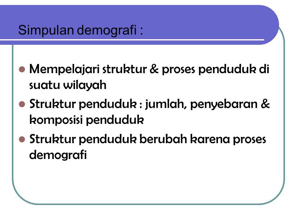 Simpulan demografi : Mempelajari struktur & proses penduduk di suatu wilayah Struktur penduduk : jumlah, penyebaran & komposisi penduduk Struktur penduduk berubah karena proses demografi