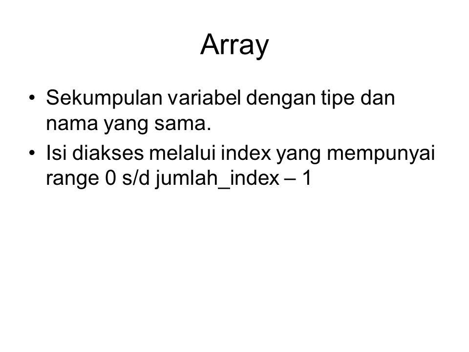 Deklarasi Array Deklarasi Array: tipe_variabel nama_array[]; Atau tipe_variabel []nama_array; Alokasi memori dilakukan dengan keyword new nama_array = new tipe_variabel[jumlah_array] Jumlah array dapat ditentukan pada saat deklarasi tipe_variabel []nama_array = new tipe_variabel[jumlah_array] Mengakses array dapat dilakukan dengan nama_array[index_array_yang_diakses]