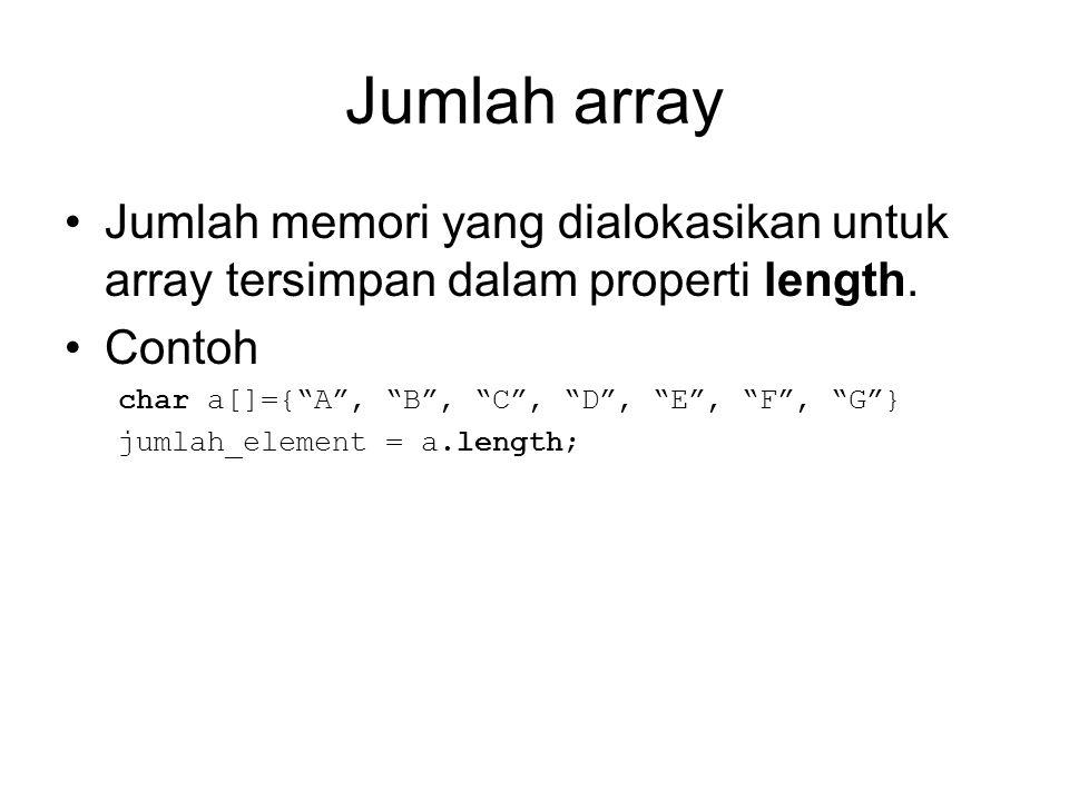Array multidimensi Deklarasi Array 2 dimensi: tipe_variabel nama_array[][]; Atau tipe_variabel [][]nama_array; Deklarasi Array 3 dimensi: tipe_variabel nama_array[][][]; Atau tipe_variabel [][][]nama_array; Deklarasi Array 4 dimensi: tipe_variabel nama_array[][][][]; Atau tipe_variabel [][][][]nama_array;