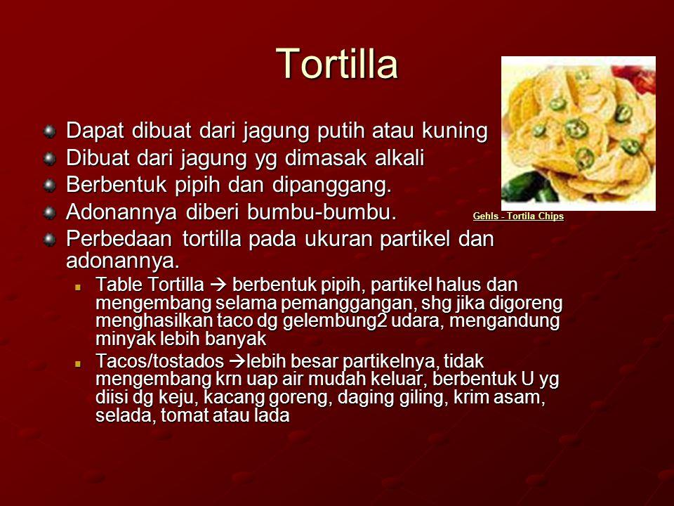 Pembuatan tortilla Adonan Ekstrusi Pembentukan Pembentukan Pembentukan Pembentukan lembaran dan lembaran dan lembaran dan lembaran pengirisan pengirisan pengirisan Penggorengan Pengovenan Penggorengan Pengovenan Keripik jagung Penggorengan Table Tortilla Penggorengan Keripik tortilla Taco shells Keripik tortilla Taco shells