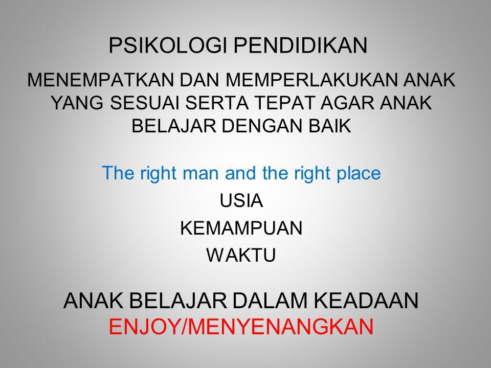PSIKOLOGI PENDIDIKAN MENEMPATKAN DAN MEMPERLAKUKAN ANAK YANG SESUAI SERTA TEPAT AGAR ANAK BELAJAR DENGAN BAIK The right man and the right place USIA KEMAMPUAN WAKTU ANAK BELAJAR DALAM KEADAAN ENJOY/MENYENANGKAN