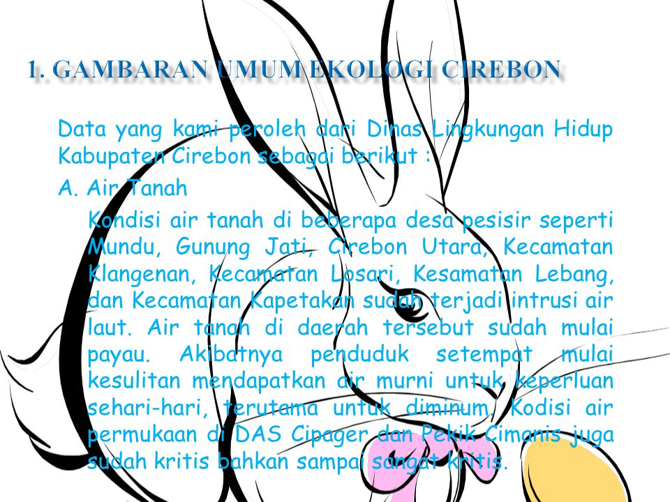 Data yang kami peroleh dari Dinas Lingkungan Hidup Kabupaten Cirebon sebagai berikut : A.