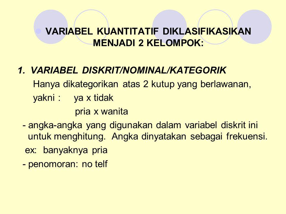 2.VARIABEL KONTINUM DIPISAHKAN MENJADI 3 VARIABEL KECIL, YAITU A.