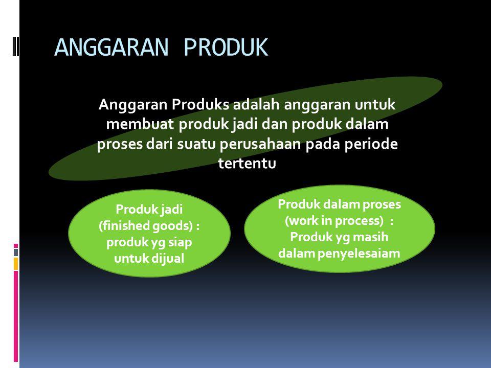Anggaran produk disusun berdasarkan anggaran jualan dan anggaran sediaan produk.