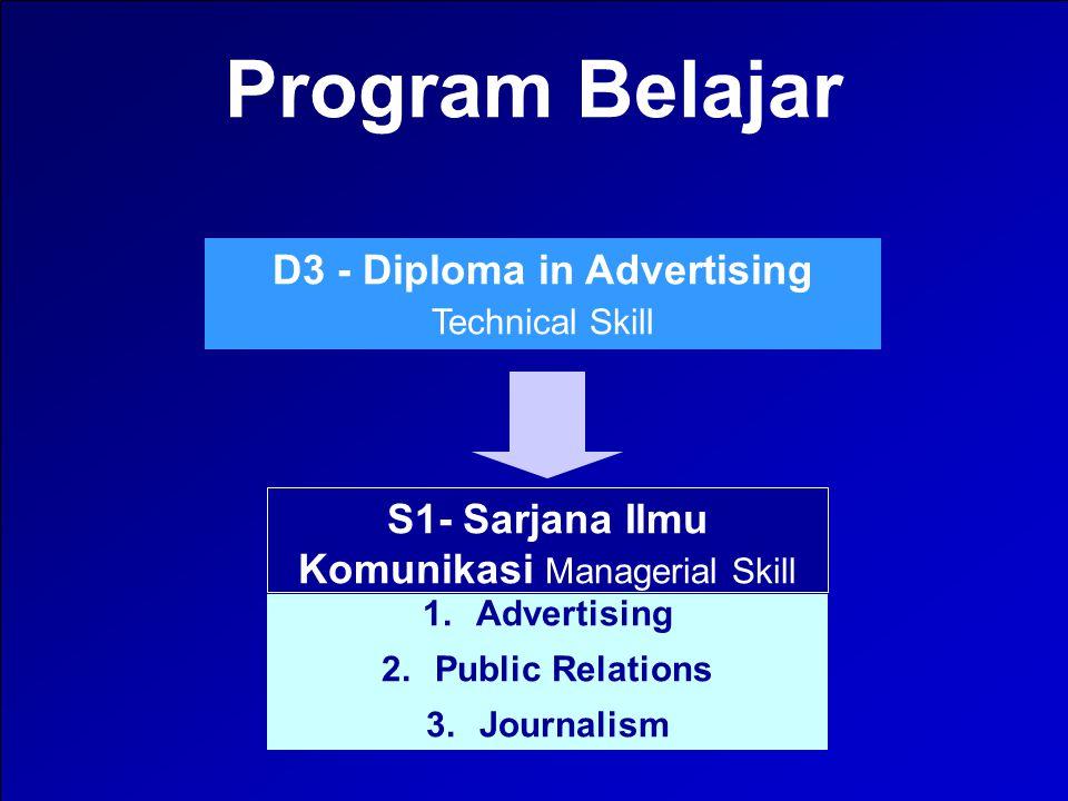 3 Diploma in Advertising Institusi pendidikan periklanan terbesar, yang didirikan, dikelola dan diasuh oleh para praktisi terkemuka periklanan Indonesia