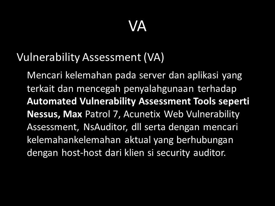 PENTEST Penetration Testing (PT) Auditor tidak hanya harus mencari kelemahan pada server dan aplikasi yang terkait tetapi juga menyerangnya serta berusaha mendapatkan akses di target untuk me-remote server dari jauh.