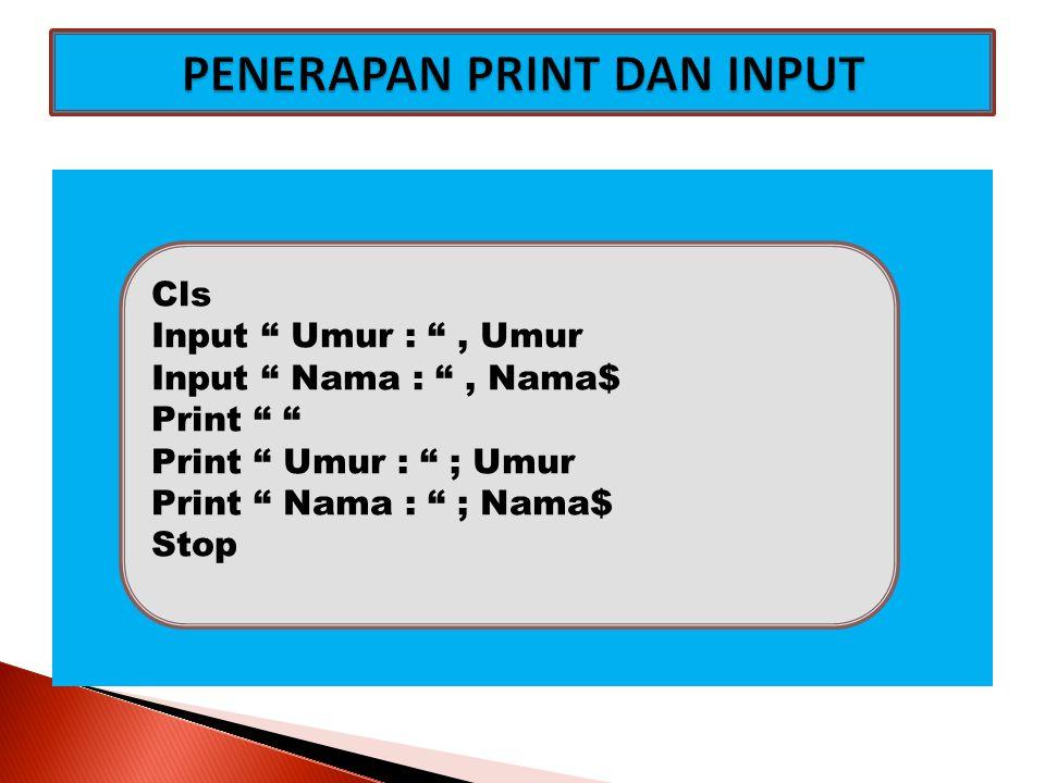 Untuk Mengatur Tampilan pada Layar Monitor digunakan Perintah TAB, SPC and LOCATE Bentuk Umumnya : Print Tab(n1) ; Tab(n2) ; dst Print Spc(n1) ; Spc(n2) ; dst Tab and Spc mengatur kolom saja Locate Baris,Kolom : Print