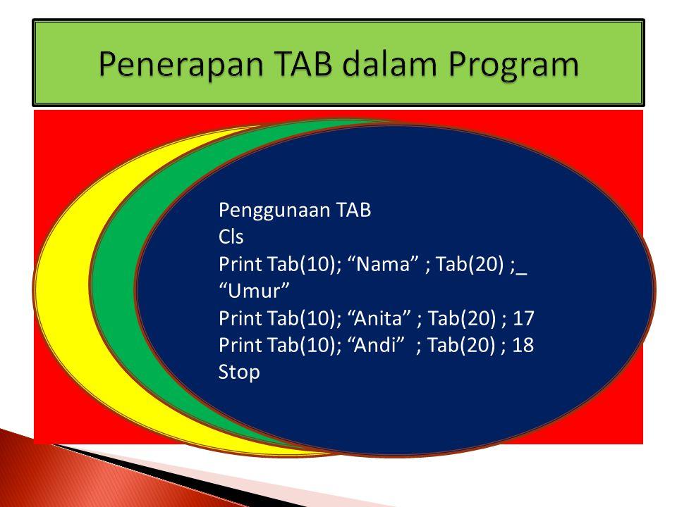 Cls Print Spc(10) ; Nama ; Spc(10) ; Umur Print Spc(10) ; Diana ; Spc(10) ; 15 Print Spc(10) ; Maria ; Spc(10) ; 18 Stop