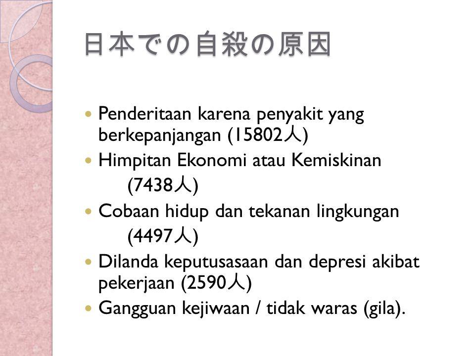 自殺の原因  Setelah penderitaan penyakit yang berkepanjangan, Himpitan Ekonomi atau kemiskinan menjadi penyebab utama bunuh diri di Jepang.