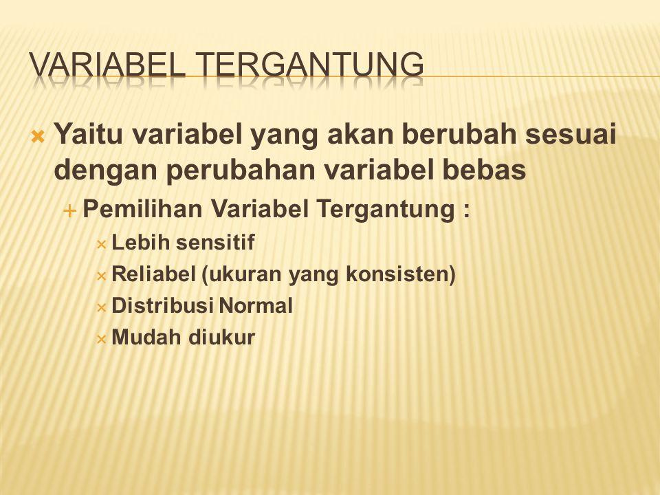  Yaitu variabel yang dimanipulasi oleh peneliti untuk dilihat pengaruhnya terhadap variabel tergantung  Jenis Variabel Bebas  Variabel Lingkungan  Variabel Tugas  Sifat Variabel Bebas :  Kuantitatif (diukur dengan angka)  Ex : - Suhu (°c)  - Kebisingan (db)  Kualitatif (ditekankan pada jenis/level)  Ex : Jenis Terapi Psikologi  Psikoanalisa  Humanistik  Behavioristik