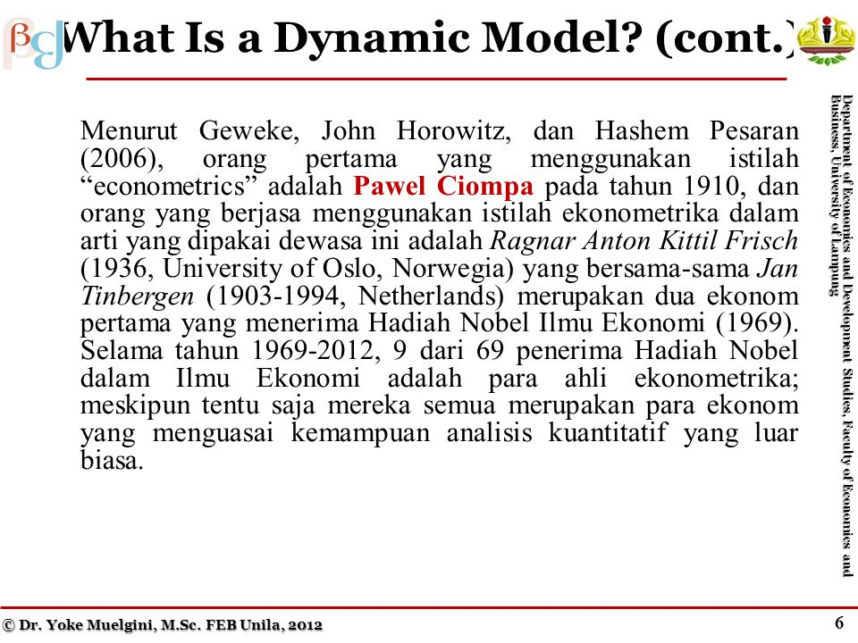 6 What Is a Dynamic Model.