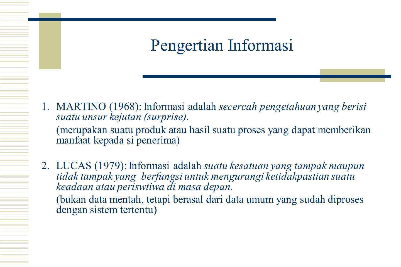 Pengertian Informasi (lanjutan) 3.DAVIS (1974): Informasi adalah data yang telah diproses ke dalam suatu bentuk yang memberikan arti kepada penerimanya dan mengandung nilai yang benar- benar tampak bagi pengambilan putusan-putusan pada masa kini atau mendatang.