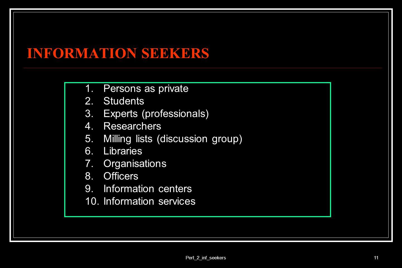Pert_2_inf_seekers12 INFORMATION SEEKERS Harus: 1.Memahami sumber-sumber informasi 2.Memahami jenis informasi 3.Mengetahui kebutuhan informasi 4.Memiliki pengetahuan dan ketrampilan IRS (information retrieval system) 5.Memerlukan jalinan/jaringan kerjasama