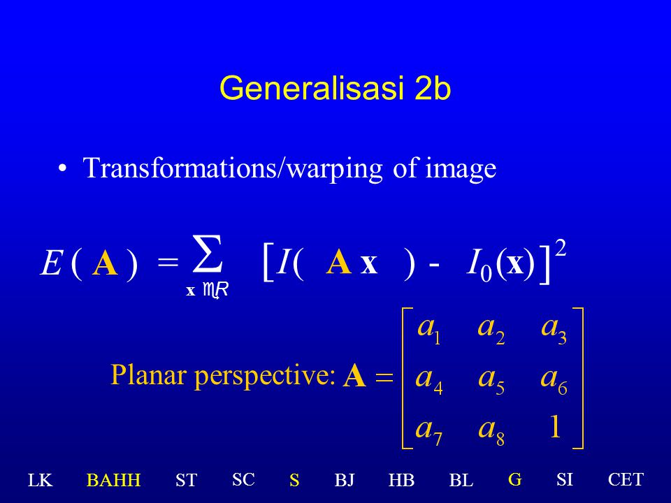 Generalisasi 2b Transformations/warping of image A)=  x eR ( E [ I(A x )-(x ] 2 ) Planar perspective:  I  LK BAHHSTSBJHBBL GSICETSC