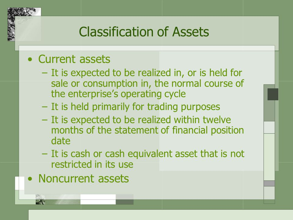 Classification of Liabilities Current liabilities –It is expected to be settled in the normal course of business within the enterprise's operating cycle –It is due to be settled within twelve months of the date of the statement of financial position –It is held primarily for the purpose of being traded –The entity does not have an unconditional right to defer settlement beyond twelve months Noncurrent liabilities