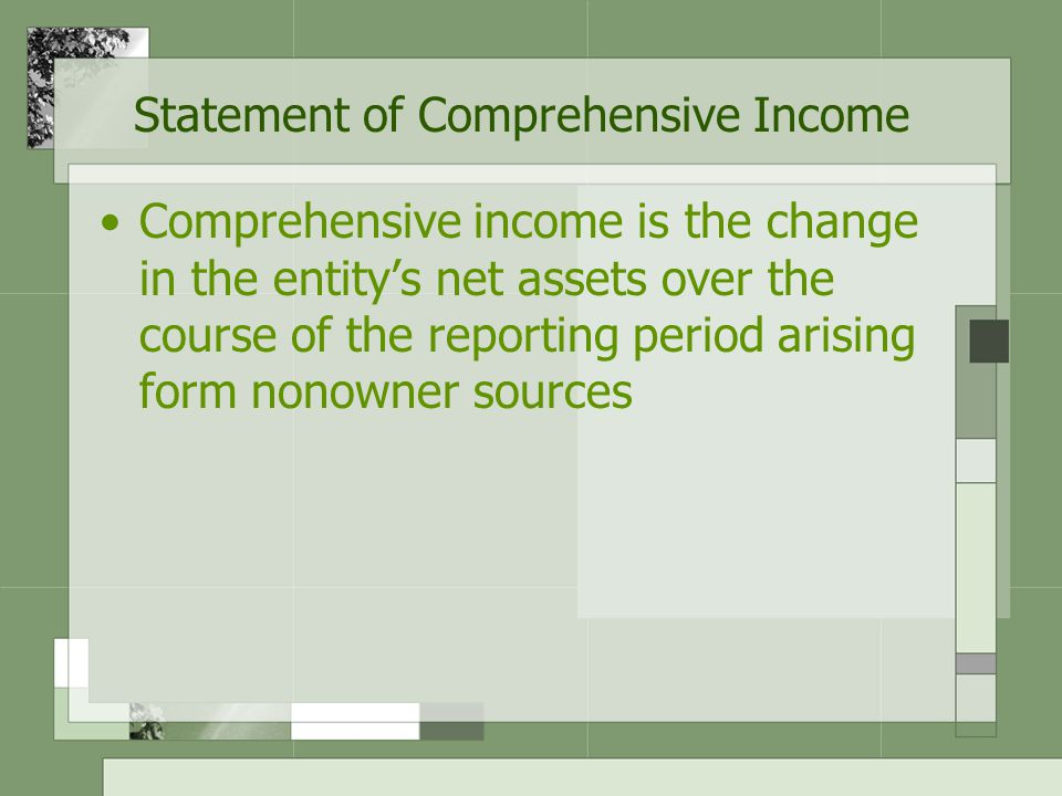 Statement of Comprehensive Income An entity has a choice of presenting all components of comprehensive income recognized in a period either: –In a single statement of comprehensive income –In two statements A statement displaying components of profit or loss (separate income statement) and A second statement beginning with profit or loss and displaying components of other comprehensive income
