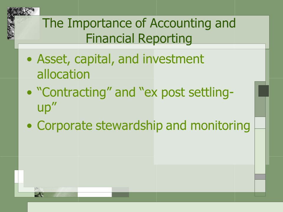 The Decreasing Relevance of Accounting and Financial Reporting Who is the company.