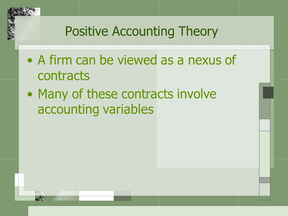 Positive Accounting Theory 3 hypotheses: –The bonus plan hypothesis –The debt covenant hypothesis –The political costs hypothesis