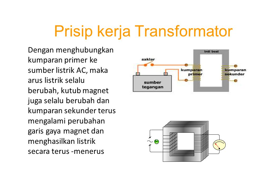 Jenis Transformator Trafo ada dua jenis, yaitu: Trafo Step-Up dan Trafo Step-Dwon Trafo Step-Up digunakan untuk menaikan tegangan listrik Trafo Step-Down digunakan untuk menurunkan tegangan listrik