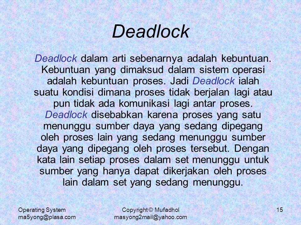 Operating System ma5yong@plasa.com Copyright © Mufadhol masyong2mail@yahoo.com 16 Contoh Deadlock