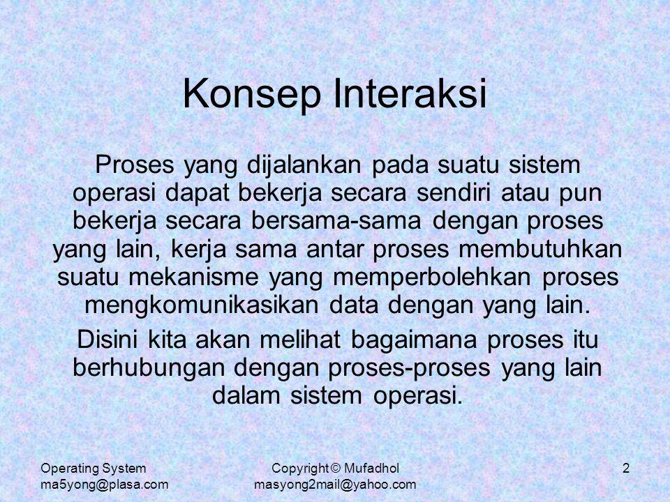 Operating System ma5yong@plasa.com Copyright © Mufadhol masyong2mail@yahoo.com 3 Proses yang Kooperatif Proses yang bersifat simultan (concurrent) dijalankan pada sistem operasi dapat dibedakan menjadi 2 yaitu proses independen dan proses kooperatif.