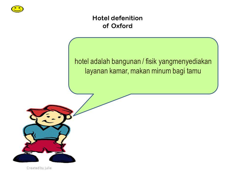 Created by julie Hotel Defenation of SK Menparpostel hotel adalah suatu jenis akomodasi yang mempergunakan sebagian / seluruh bangunan untuk menyediakan layanan jasa penginapan, makan minum serta jasa penunjang lainnya bagi umum yang di kelolah secara komersial