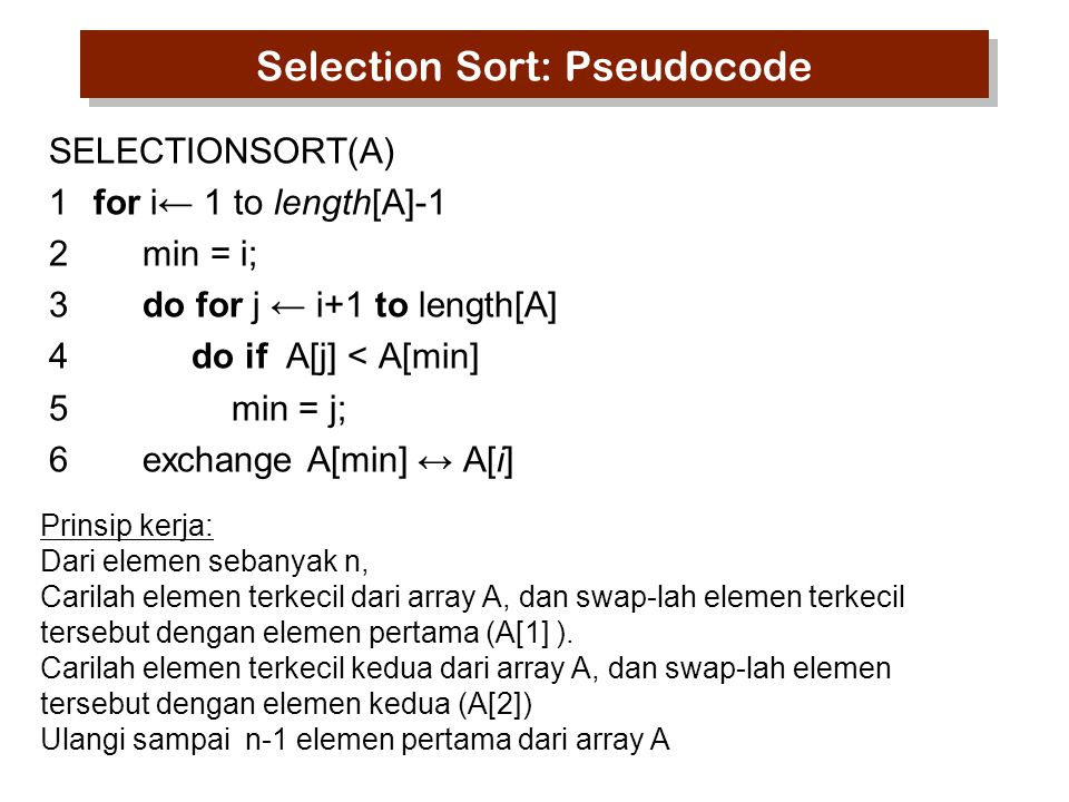 Selection Sort: contoh 524613 123456 1 2 3 4 5 6 124653 124653 123654 123456 Carilah elemen terkecil & tukar dengan 5 1 fixed.