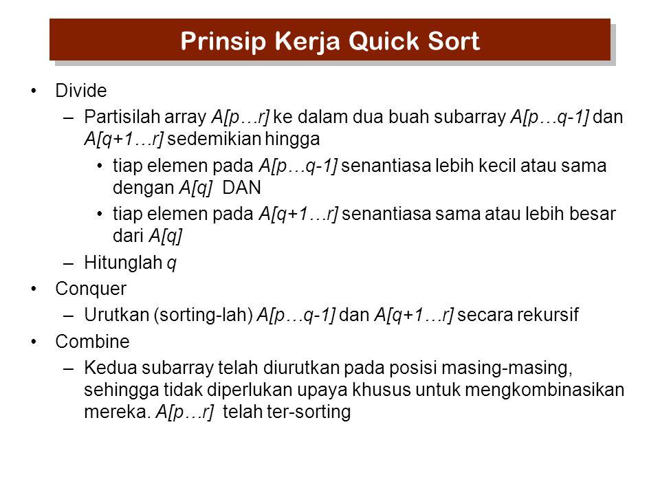 Quick Sort: pseudocode QUICKSORT (A, p,r) 1 If p<r 2 then q←PARTITION (A,p,r) 3 QUICKSORT(A,p,q-1) 4 QUICKSORT(A,q+1,r) PARTITION(A, p,r) 1 x←A[r] 2 i←p-1 3 for j←p to r-1 4do if A[j] < x 5then i←i+1 6exchange A[i] ↔A[j] 7 exchange A[i+1] ↔A[r] 8 return i+1 1.