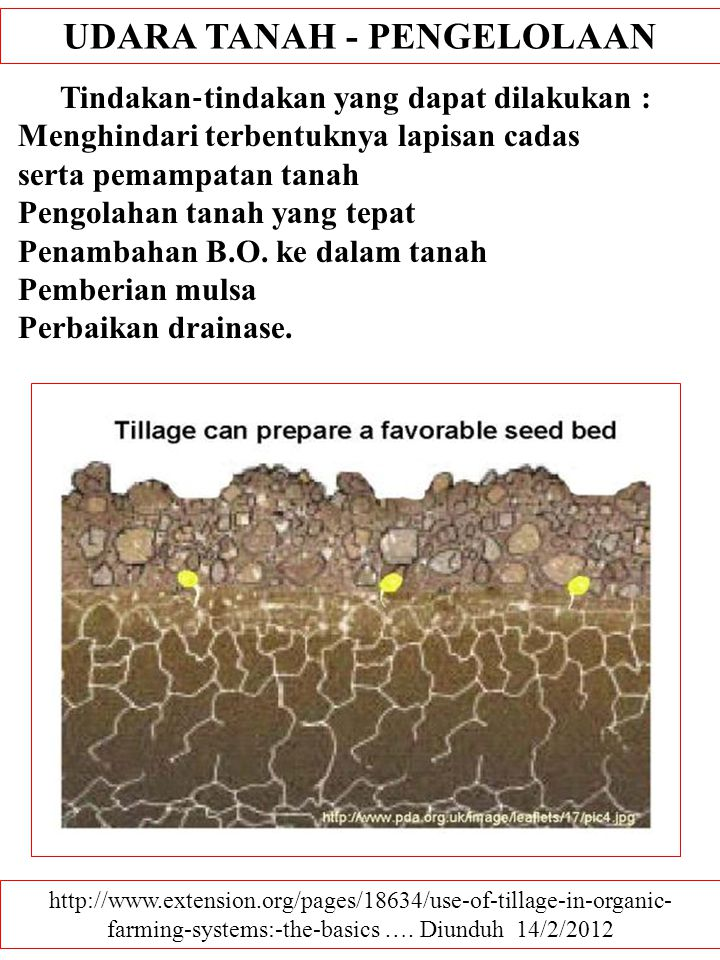 UDARA TANAH - PENGELOLAAN http://www.extension.org/pages/18634/use-of-tillage-in-organic- farming-systems:-the-basics ….