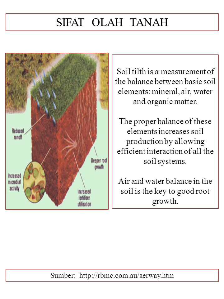 SIFAT OLAH TANAH Sumber: http://rbmc.com.au/aerway.htm Soil tilth is a measurement of the balance between basic soil elements: mineral, air, water and organic matter.