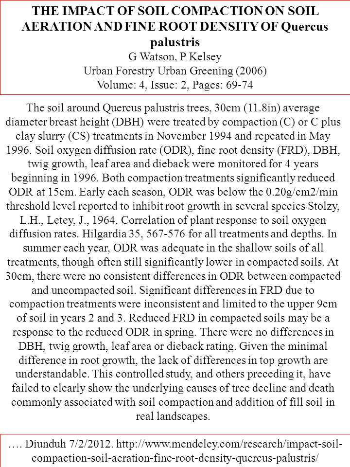 THE IMPACT OF SOIL COMPACTION ON SOIL AERATION AND FINE ROOT DENSITY OF Quercus palustris G Watson, P Kelsey Urban Forestry Urban Greening (2006) Volume: 4, Issue: 2, Pages: 69-74 ….