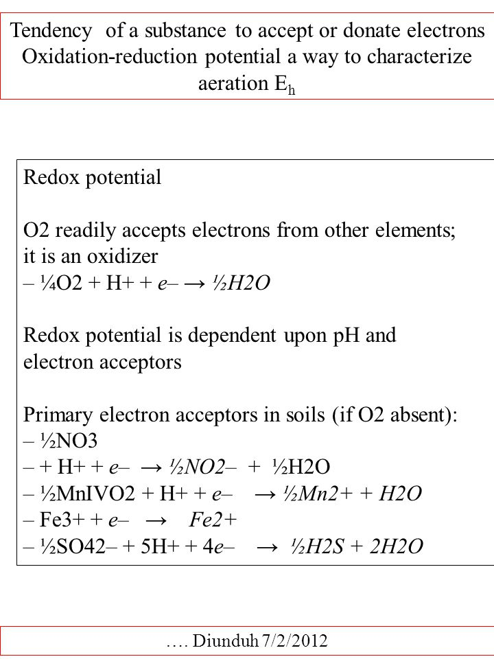 Tendency of a substance to accept or donate electrons Oxidation-reduction potential a way to characterize aeration E h ….