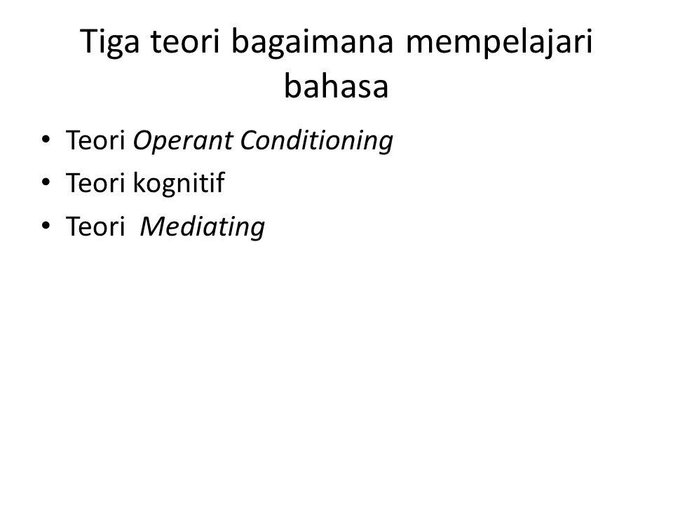 Teori Operant Conditioning Dikembangkan oleh seorang ahli psikologi behavioristik yang bernama B.