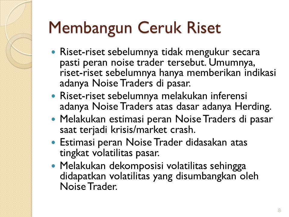 Mengisi Ceruk Riset Analisis volatilitas karena adanya Noise Trader menggunakan informasi perdagangan dalam skala terkecil.