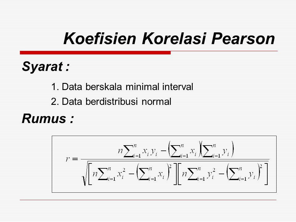 Koefisien Korelasi Pearson Hal-hal yang perlu diperhatikan :  Nilai Koefisien korelasi Pearson antara -1 s/d +1 Semakin kuat -1 0 +1 Semakin lemah