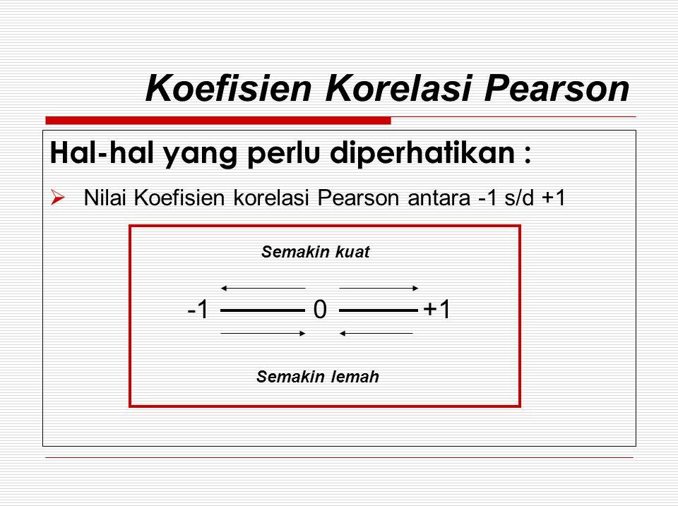 Koefisien Korelasi Pearson  Tanda (-) dan (+) hanya menunjukkan arah hubungan (+) Jika nilai variabel X naik maka nilai pada variabel Y juga akan naik, Atau Jika nilai variabel X turun maka nilai pada variabel Y juga akan turun (-) Jika nilai variabel X naik maka nilai pada variabel Y akan turun, Atau Jika nilai variabel X turun maka nilai pada variabel Y akan naik