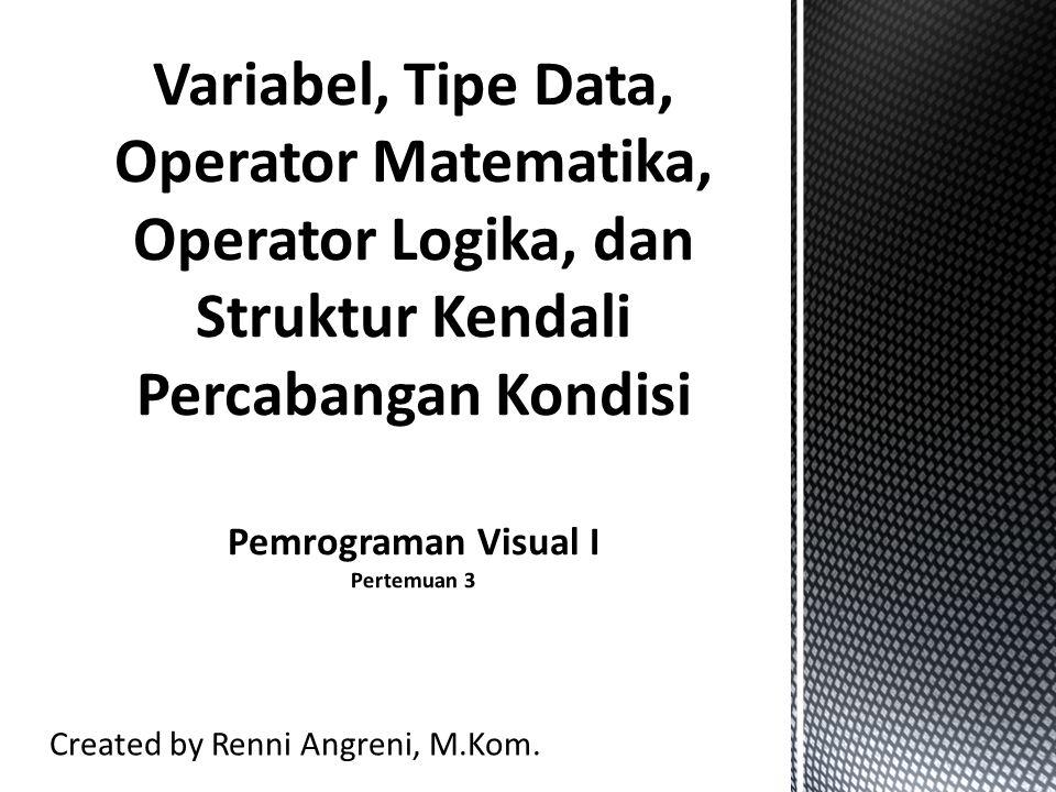 Identifier (Pengenal) Pengenal adalah suatu nama yang biasa dipakai dalam pemrograman untuk menyatakan : - variabel - konstanta bernama - tipe data - fungsi - label - objek