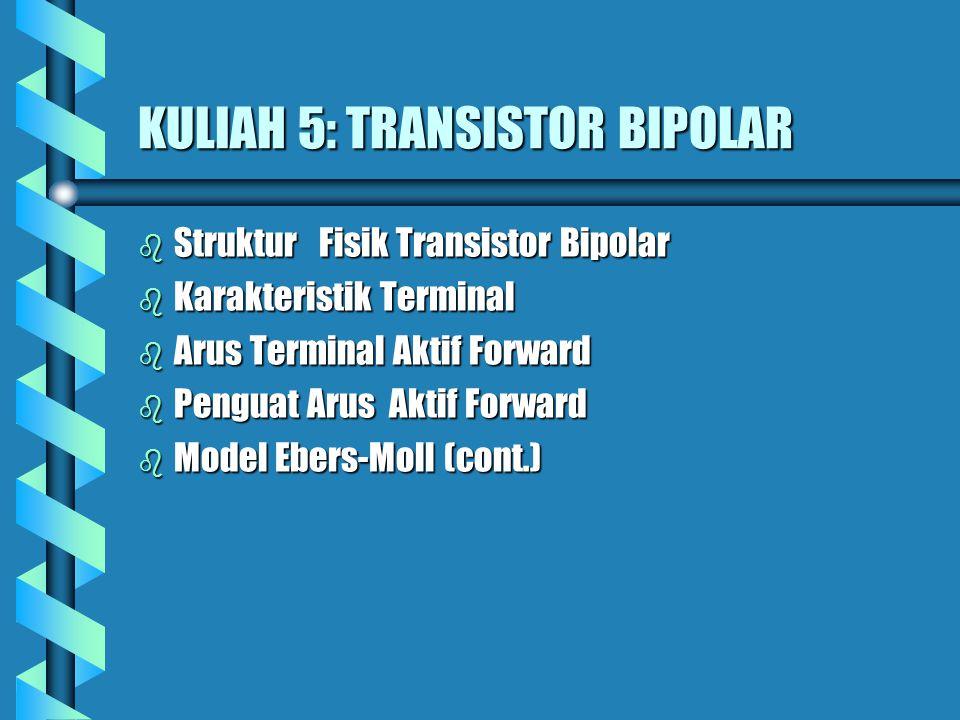 Struktur Fisik Transistor Bipolar b Struktur Fisik Transistor Bipolar : b Terdapat Dua jenis Transistpr bipolar: NPN BJT PNP BJT b NPN BJT: Daerah Emiter : lapisan tipe n yang dihubungkan dengan lapisan polysilicon n +.