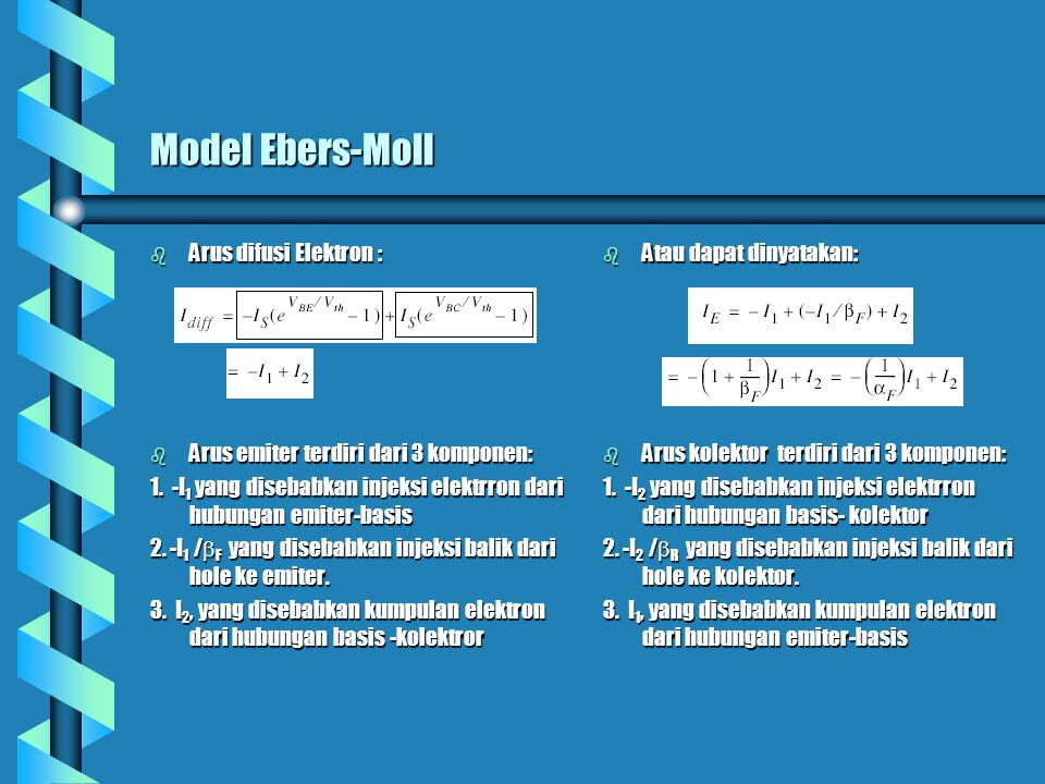 Model Ebers-Moll (cont.) b Atau dapat dinyatakan: b Di mana penguat arus revers, b Bentuk standar dari persamaan Ebers- Moll didefinisikan dari 2 komponen: b sehingga arus Emitter: b Dan arus kolektor b Arus kolektor dan emiter merepresentasikan dua buah dioda dengan pengendali sumber arus yang menggandengkan emiter dan kolektor b Bentuk equivalen dari rangkaian Ebers- Moll, dengan: