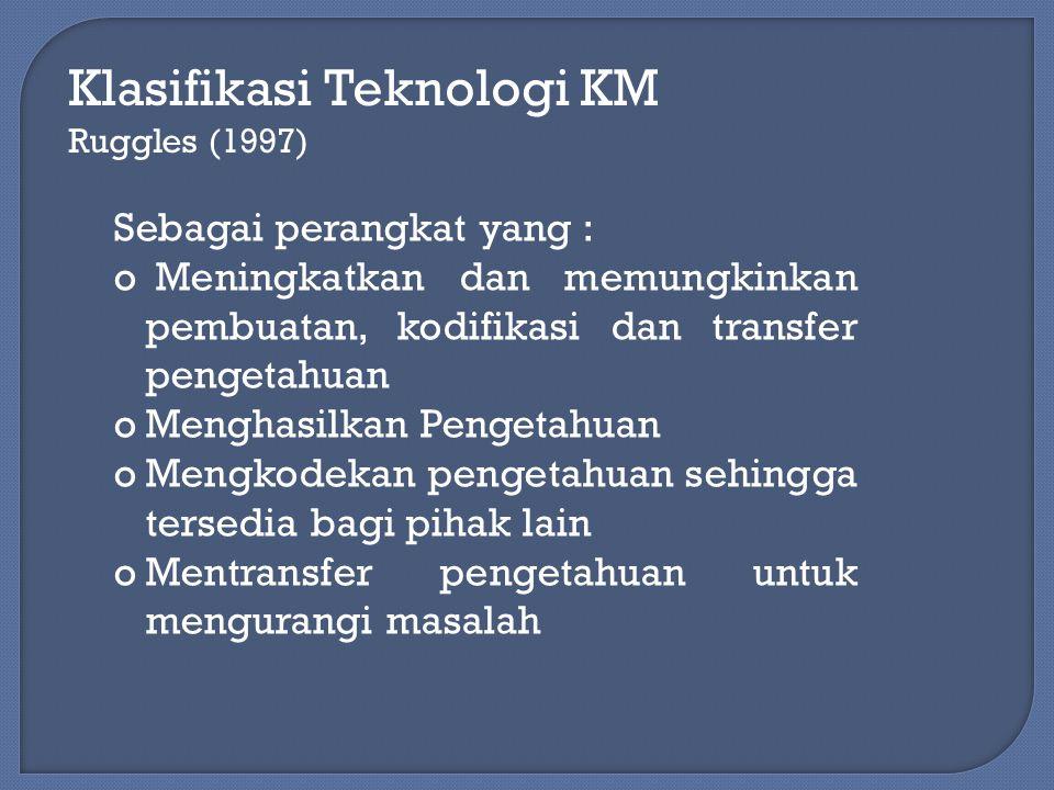 Klasifikasi Teknologi KM Rollet (2003) Berdasarkan skema : oKomunikasi oKolaborasi oPenciptaan konten oPengelolaan konten oAdaptasi oE Learning oPerangkat personal oKecerdasan Buatan oJaringan