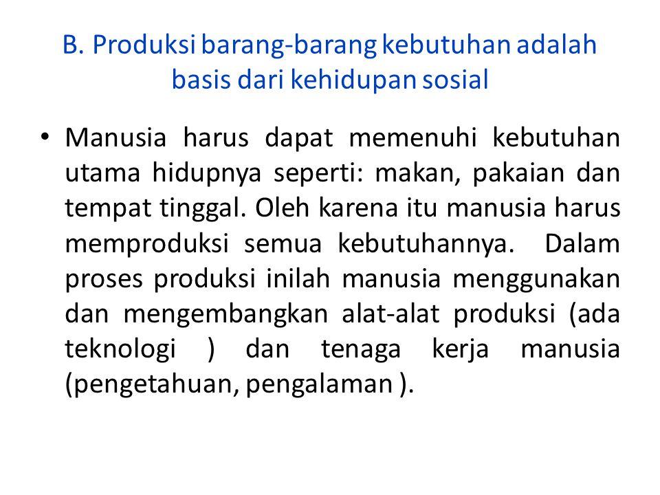 B.Produksi barang-barang kebutuhan adalah basis dari kehidupan sosial 1.