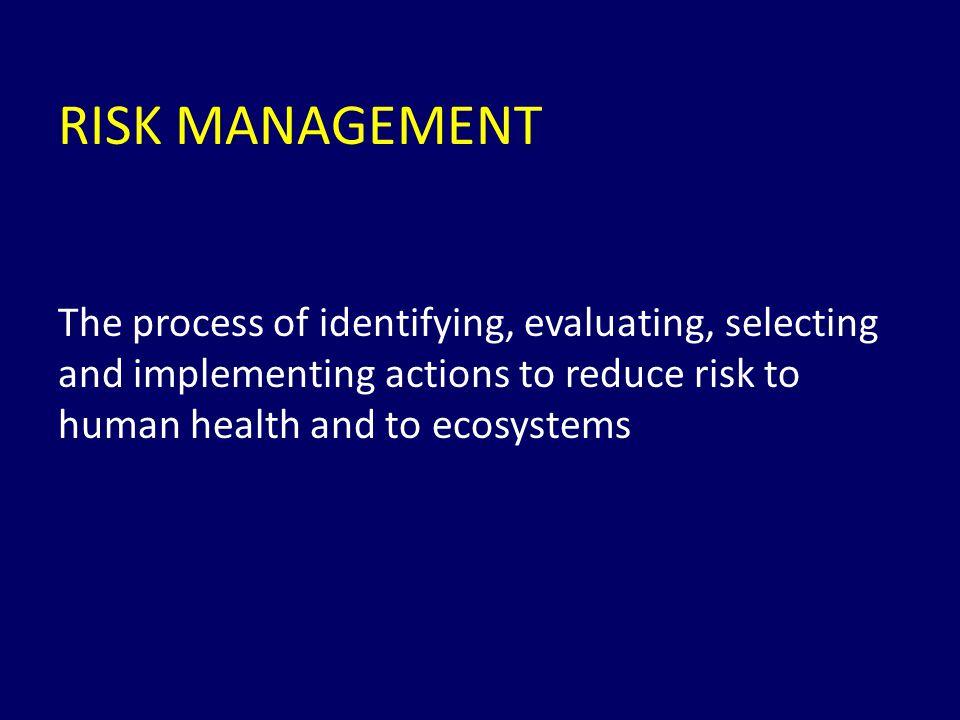 Risk Assessment / Risk Management Dose-response Assessment Hazard Identification Dose-response Management Exposure Assessment Technical Socieconomic Regulatory Decission Political Other